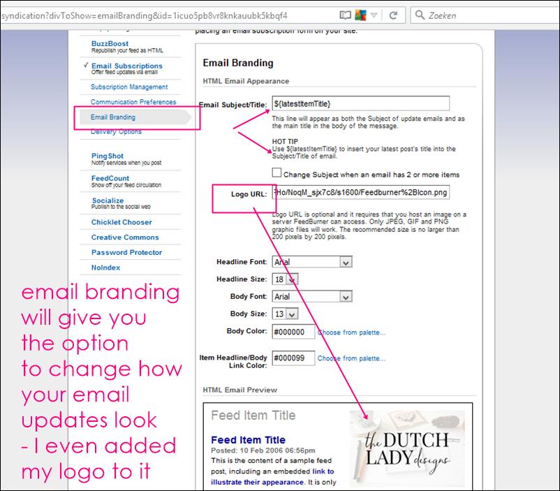 feedburner email branding options