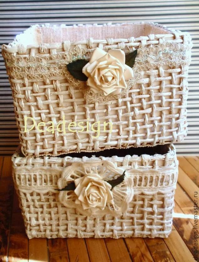 Плетеные корзинки из бумажного шпагата