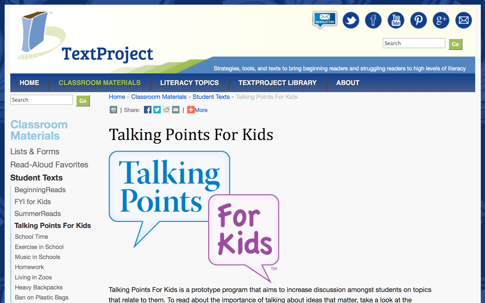 http://textproject.org/classroom-materials/students/talking-points-for-kids