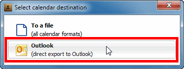 select calendar destination - icloud to outlook