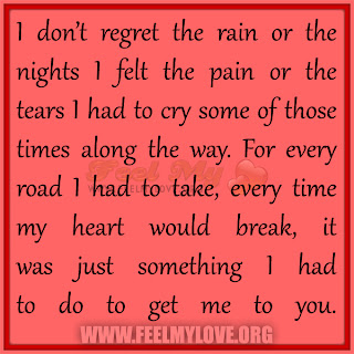 I don't regret the rain or the nights I felt the pain