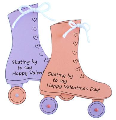 Tarjeta de dos patines con mensaje para San Valentín