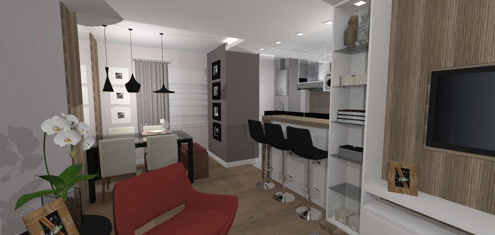 Sala De Tv Com Jantar ~  Arquitetas Associadas Sala de TV, Sala de Jantar e cozinha integradas