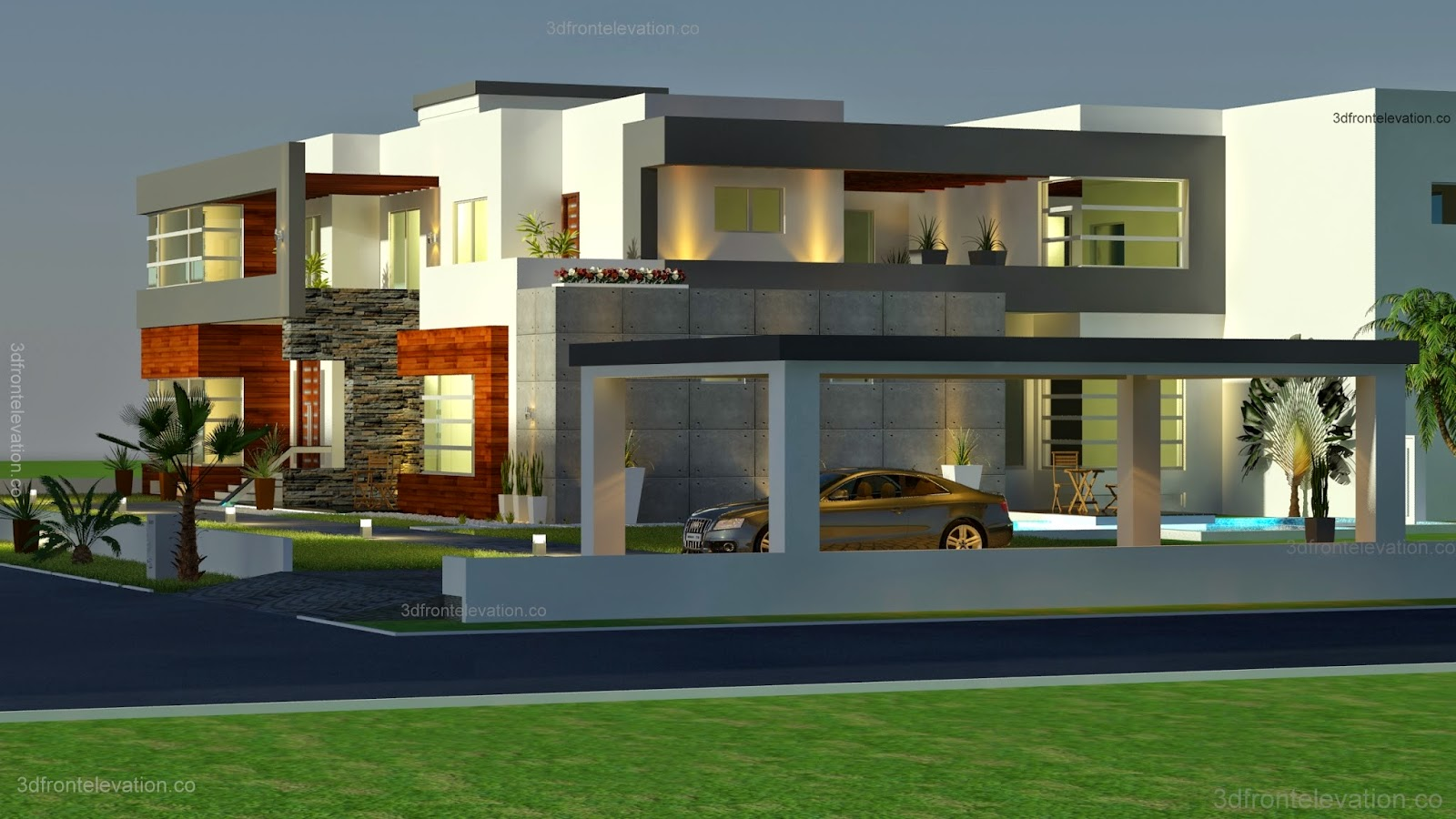 3d front 500 square meter modern for Modern villa plans and elevations