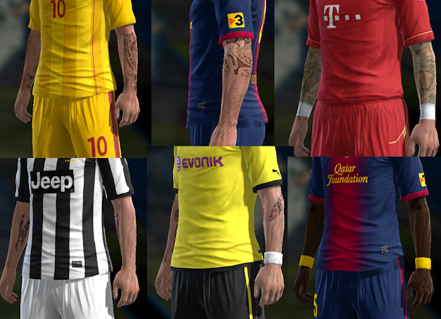 Pack de Tattoos v2 - PES 2013