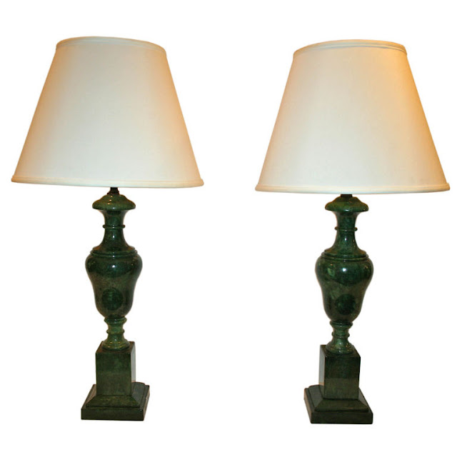 Chinoiserie Chic Green Alabaster Lamps HighLow