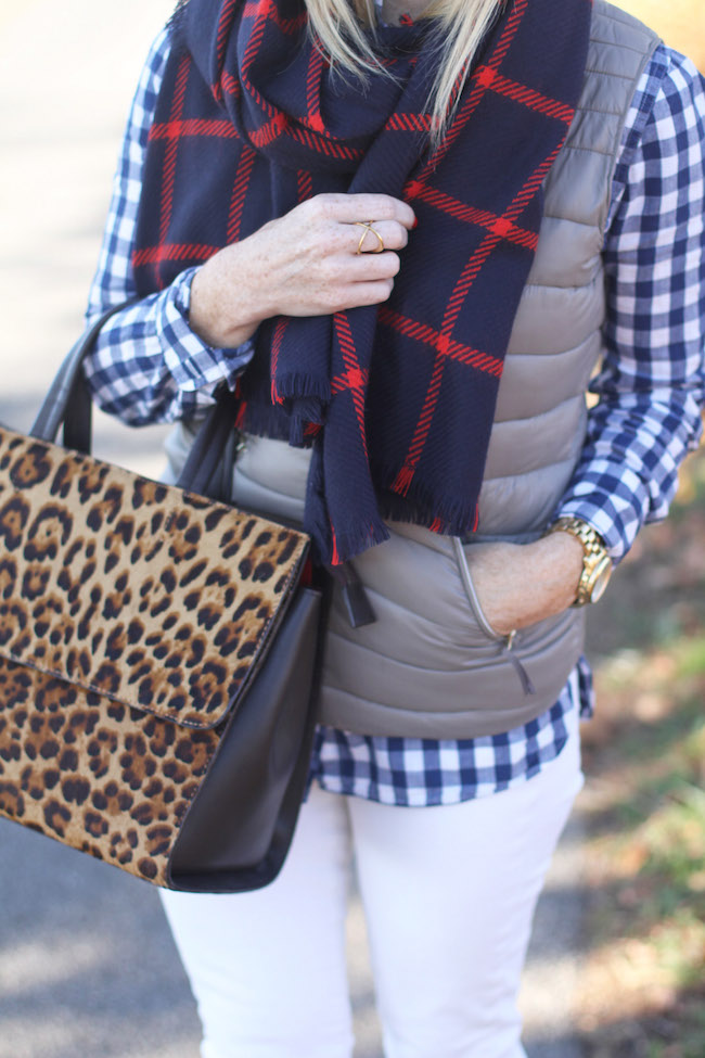plaid scarf, leopard bag