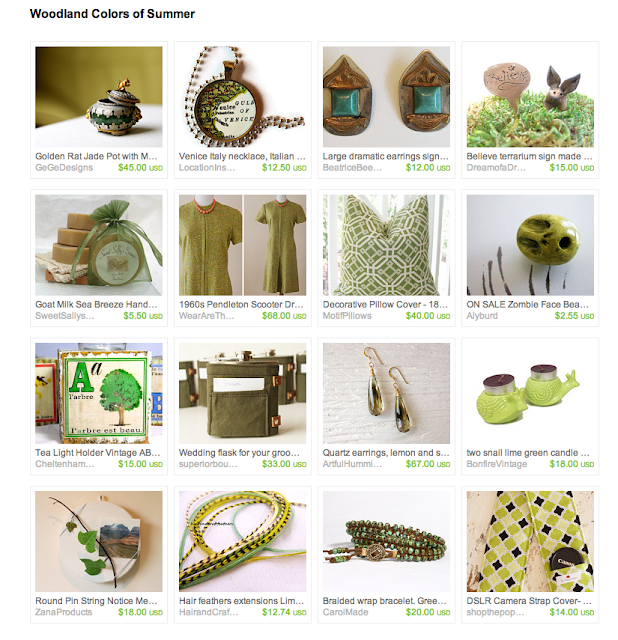 wood and green colored items featured in one collection