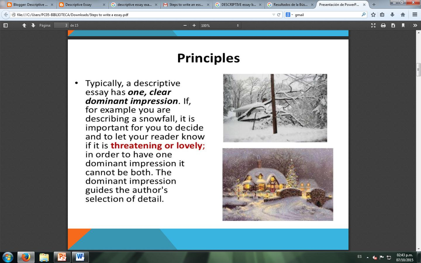 descriptive essay please review the power point presentation available at es slideshare net rachelelliottrigolino descriptive essay ppt 2012