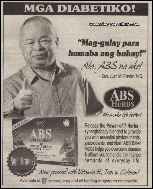 endorsements, advertisements, Juan Flavier, ABS Herbs