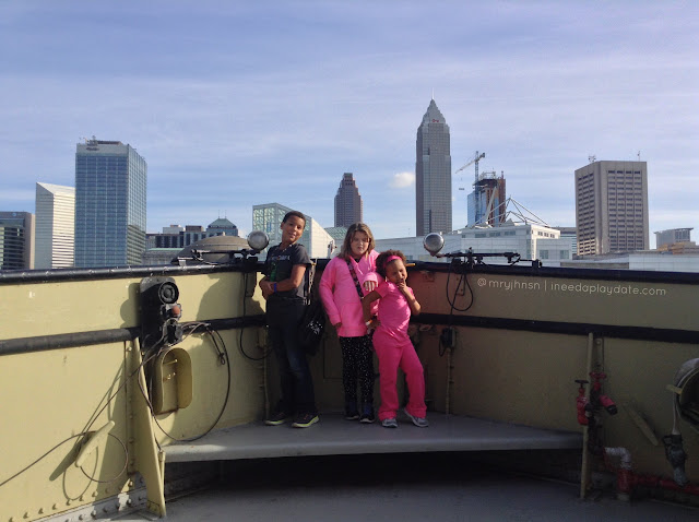 Cleveland skyline from the Mather at Great Lakes Science Center #thisiscle