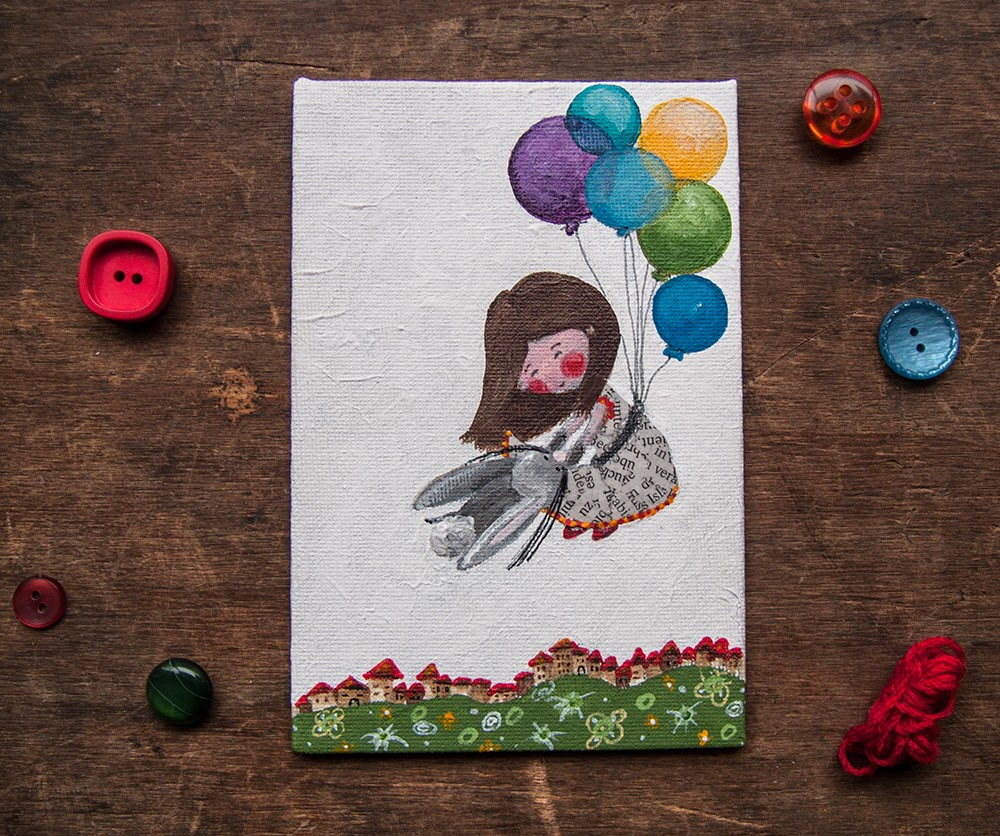 The little girl and bunny flying. Original cute acrylic illustration handpainting on canvas board OOAK  Folk art by Barbara Bisarello on CoCodeStudio