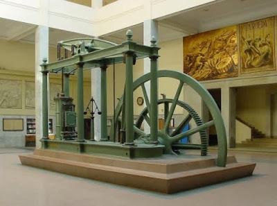 Sebuah mesin uap. Penggunaan mesin uap, yang menyebabkan meningkatnya penggunaan batubara turut mendorong terjadinya Revolusi Industri di Inggris dan di seluruh dunia.