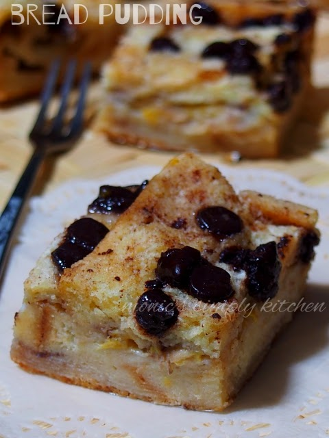 resep bread pudding pisang chocochips