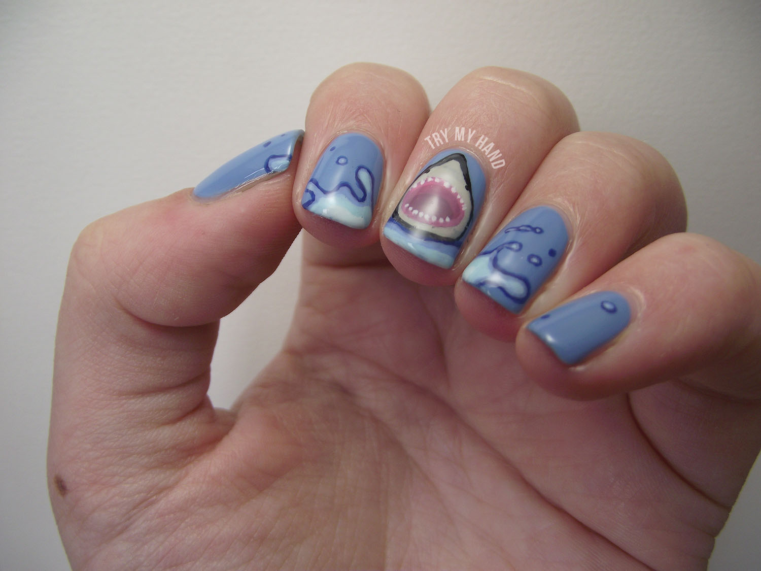 Try My Hand: Alphabet Nail Art Challenge : S for Sharks
