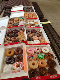 Here is photo of one of our previous breaksales that shows two tables full of Dunkin Donuts! 8 dozen to be exact!!