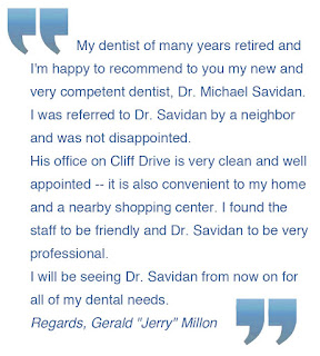patient testimonial for Dr. Michael Savidan, D.D.S in Santa Barbara, CA
