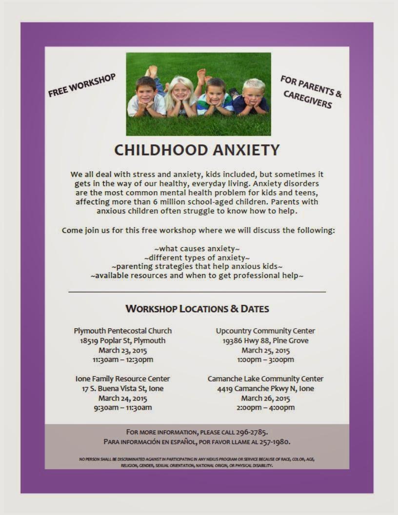 Childhood Anxiety Workshops - Mar 23-26
