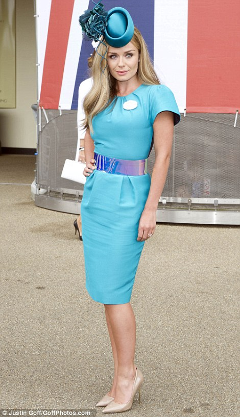 Katherine Jenkins in a Phillip Treacy hat and blue sky blue outfit on Ladies' Day of Royal Ascot 2014