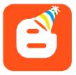 Logo Blogger mit Partyhut