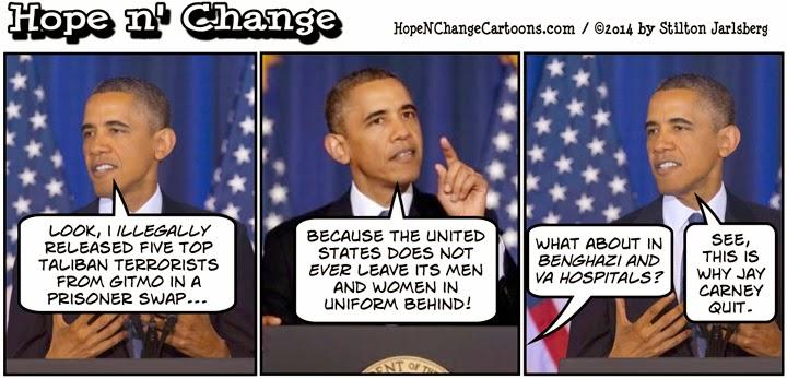 obama, obama jokes, political, humor, cartoon, hope n' change, hope and change, stilton jarlsberg, conservative, taliban, bergdahl, deal, guantanamo