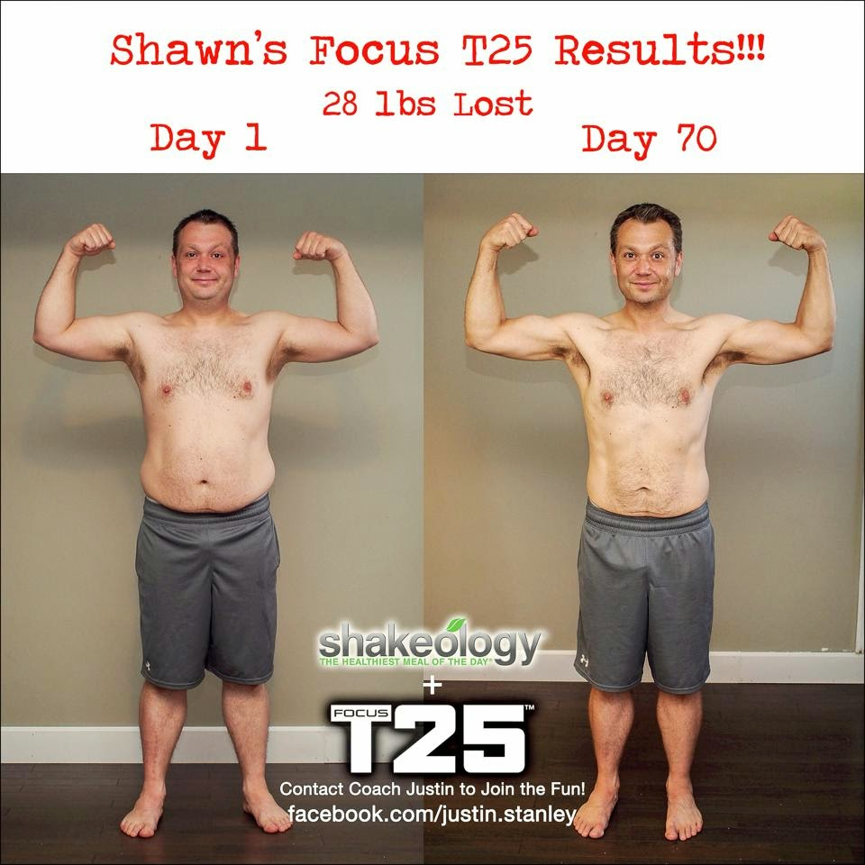 Beachbody Shakeology Focus T25 Shaun T results front flex