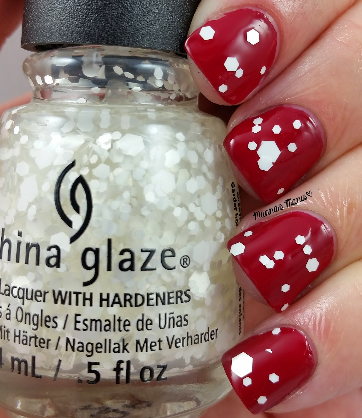 china glaze chillin with my snow-mies, a white hex glitter nail polish