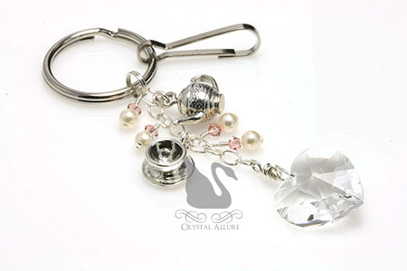 Vintage Tea Crystal Heart Beaded Keychain Purse Charm (K109)