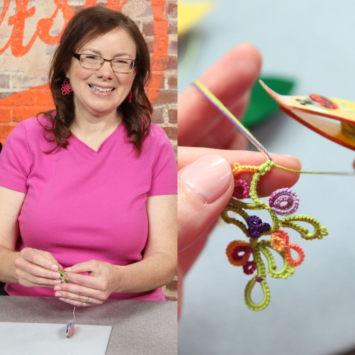 Yarnplayer s tatting blog a petal shaped tatted pendant with wire