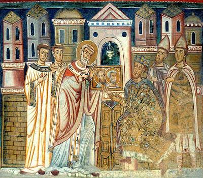São Silvestre I mostra a Constantino as cabeças de São Pedro e São Paulo,  hoje veneradas em São João de Latrão