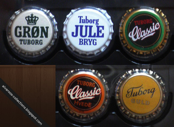Beer caps collection: Tuborg Gron, Jule Bryg, Classic, Classic Hvede, Guld
