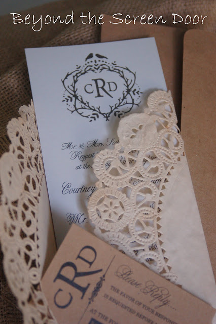 tea stained doily tied with twine and mailed in a kraft paper envelope