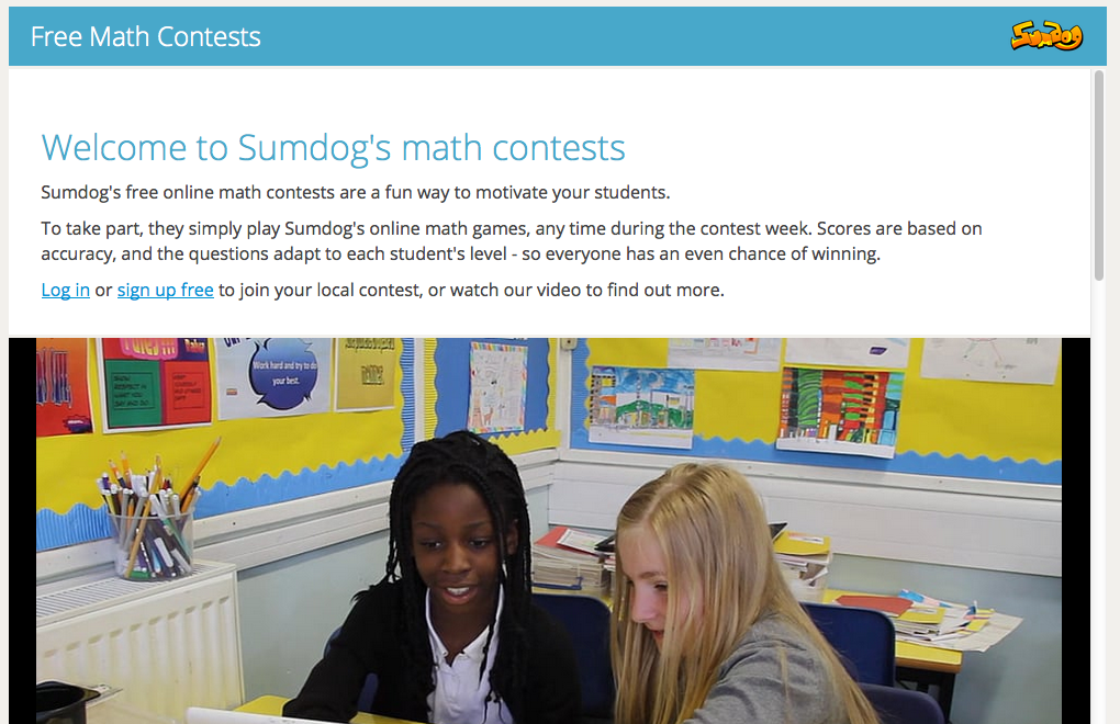 Sum Dog Online Math Competition (Calhoun County Window)