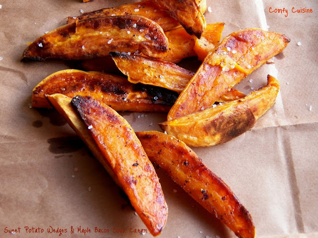 Comfy Cuisine: Sweet Potato Wedges with Maple-Bacon Sour Cream