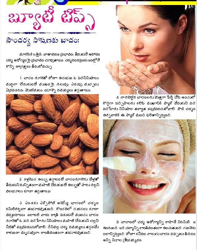 TELUGU WEB WORLD: Beauty Tips - Badam - Almond and Kitchen Tips