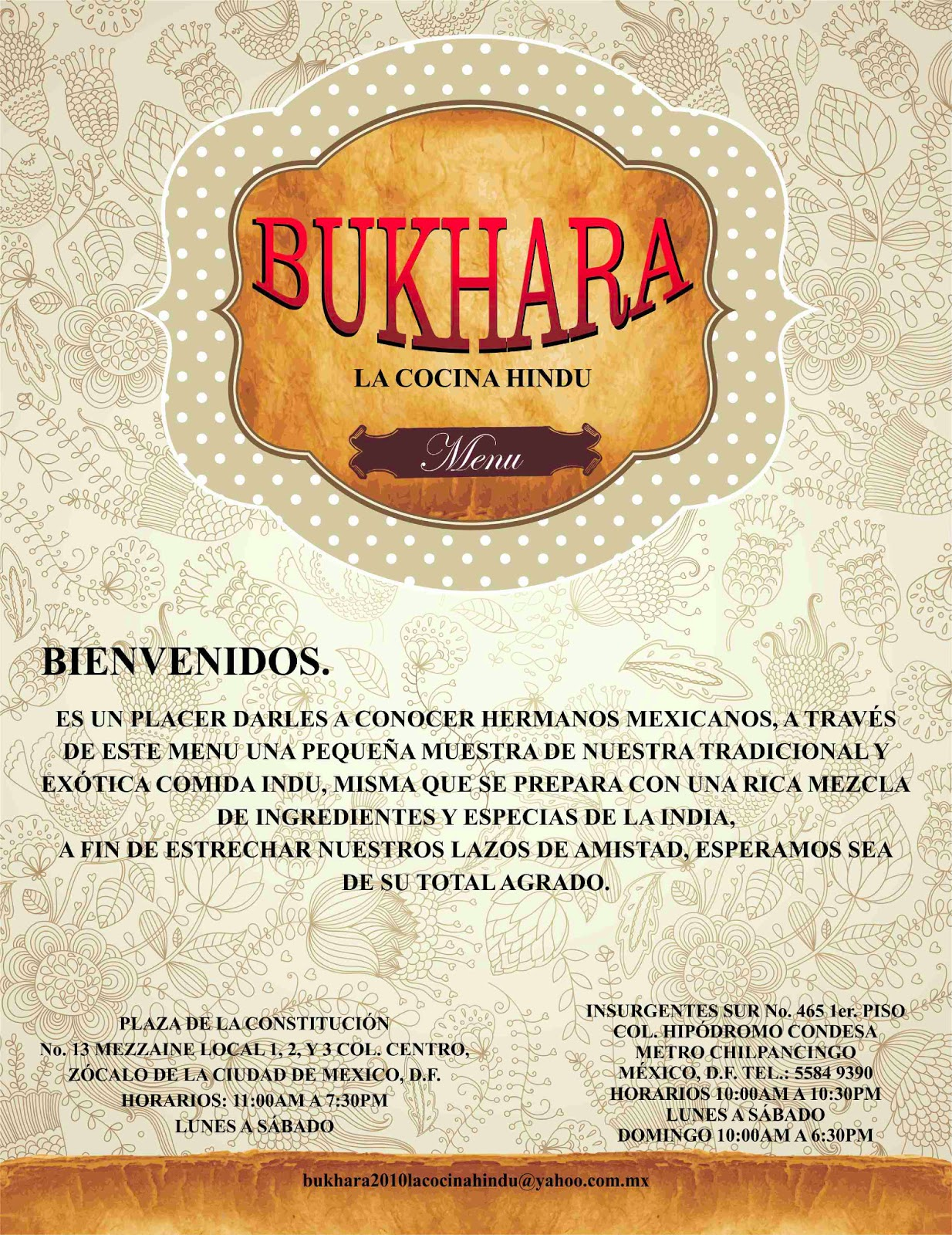 BUKHARA LA PARILLA HINDU ,ZOCALO, MEXICO CITY: BUKHARA COCINA HINDU