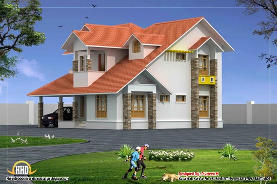 Duplex house elevation 2250 sq ft kerala home design for Duplex house models kerala