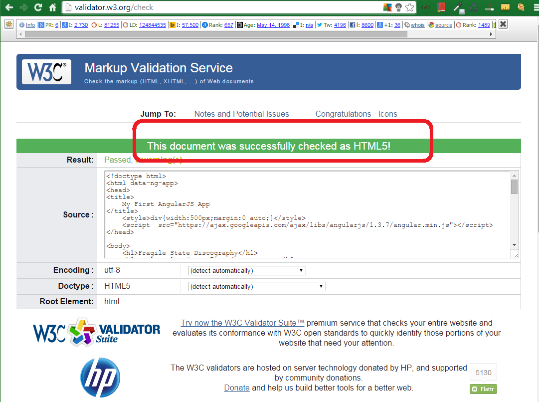 W3C Free Tool for HTML5 Markup Validation 9