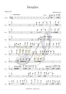 1 Partituras de Imagine Clave de Fa en 4º (partitura fácil para tocar todos los instrumentos juntos Imagine pinchando aquí)