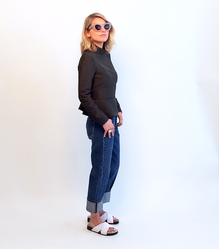 Bally peplum top, MiH denim, Sam Edelman white patent leather slides, Saint Laurent Arty ring, Céline sunglasses, photo shoot for Keaton Row