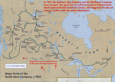 Map of British Fur Trading outposts in 1821 - THE REVENANT