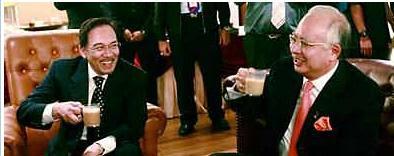 Gambar Dato Seri Anwar Dato Seri Najib pekena teh tarik