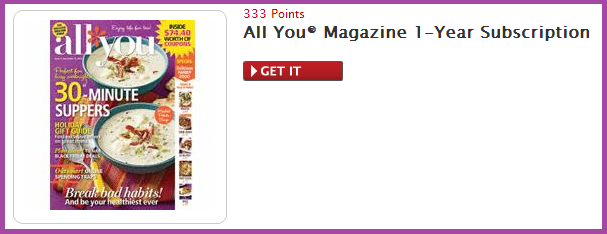 All You magazine subscription free for 1 year with My Coke Rewards points
