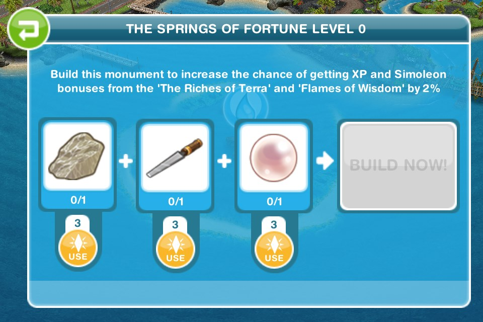 How do you build the first monument on sims freeplay