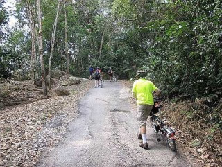 Rough terrain: Loose gravel and a high gradient proved to be too much for the folding bicycle riders.