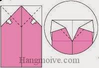Bước 8: Mở lớp giấy ra, kéo và gấp lớp giấy xuống dưới.