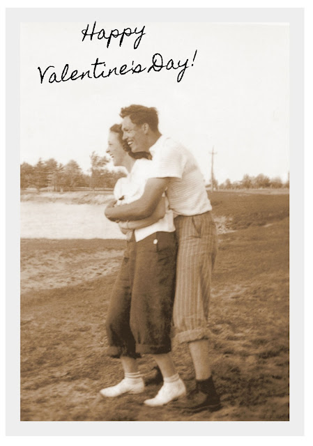 Vintage Photograph Sepia Love Hug Man Woman At the Lake Valentine