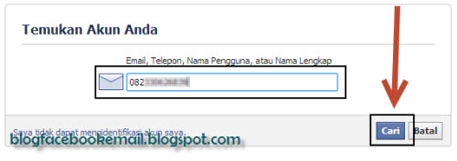 cara mengembalikan password facebook