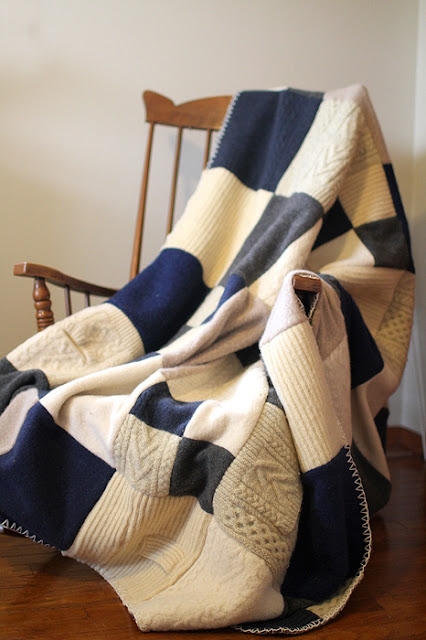 ivory and navy quilt made from wool sweaters