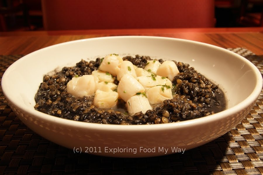 ... was Poached Sea Scallops over Squid Ink Farro, Fines Herbs, and Fumet